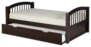 Twin Platform Bed With Twin Trundle, Arch Spindle Headboard, Cappuccino