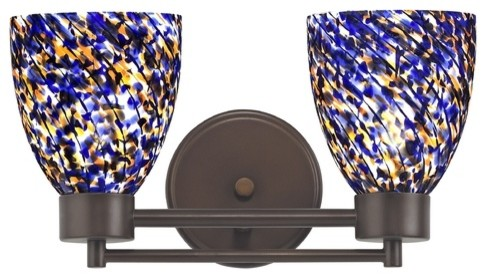 Blue Glass Vanity Light : Neuvelle Bronze Modern Bathroom Light with Blue Glass - 702-220 GL1009MB - Bathroom Vanity ...