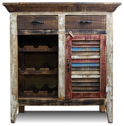 Distressed Reclaimed Wood Wine Cabinet With Wine Rack and Shuttered-Door - Rustic - Wine And Bar ...