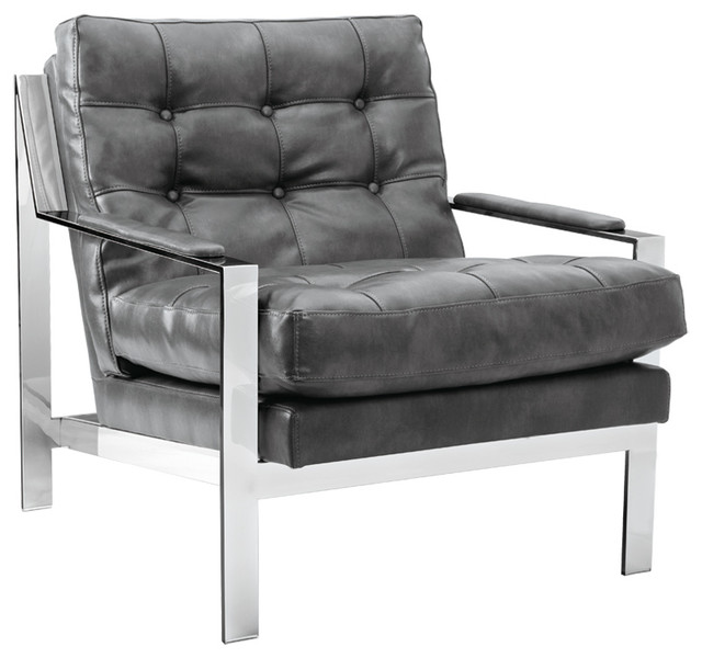 Superieur ALBINUS GREY LEATHER ARMCHAIR STAINLESS