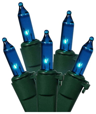 Blue Mini Christmas Lights, Green Wire, Set Of 35.