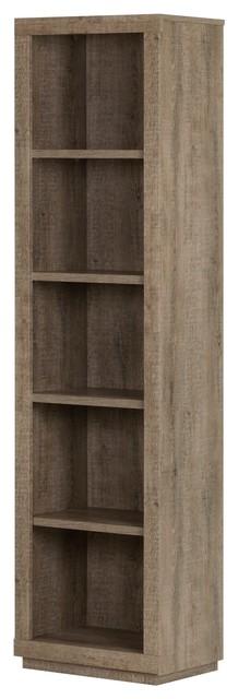 South Shore Kanji 5 Shelf Narrow Bookcase, Weathered Oak.