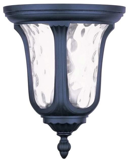 Oxford 2-Light Outdoor Ceiling Lights, Black.