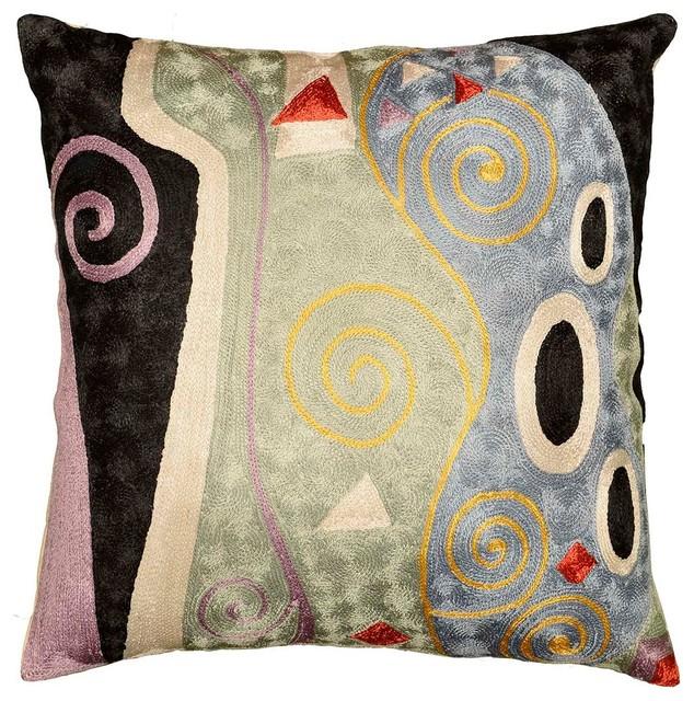 "Klimt Art Nouveau Aqua Blue Marine Pillow Cover Hand-Embroidered, 18""x18""."
