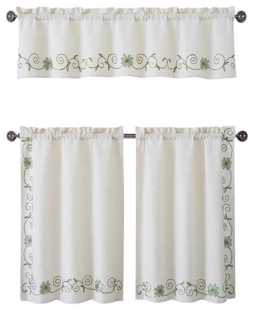 3 Piece Faux Cotton Espresso Brown Kitchen Window Curtain: Anda Beige Faux Linen Green Floral Embroidered Kitchen