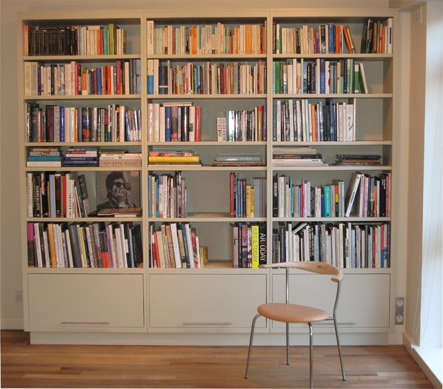 Painted bookcase, London, England