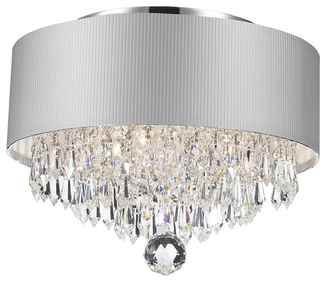 Contemporary Modern 3 Light Chrome Crystal Chandelier Silver Acrylic Drum Shade Flush