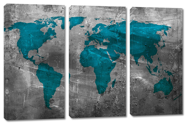 Abstract Teal World Map Canvas Print 3 Panel Split Triptych Wall Art 30x20