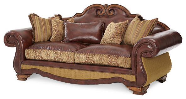 Tuscano Leather And Fabric High Back Sofa By Michael Amini Brick Victorian Sofas Warehouse Direct Usa