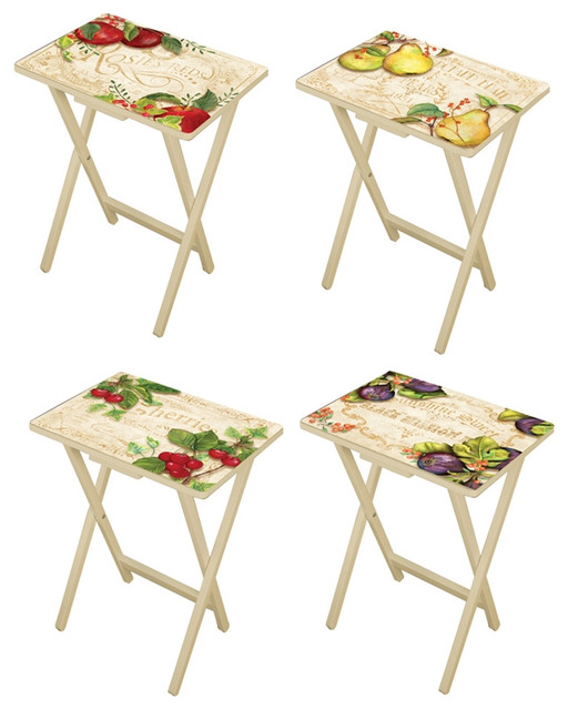 Country Kitchen Tv Trays Set Of 4 With Stand