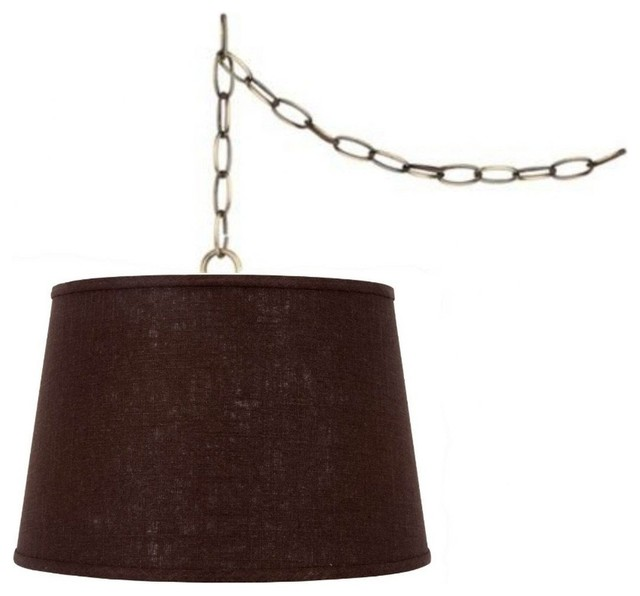 Chocolate Brown Linen 16 Drum Portable Swag Lamp Shade