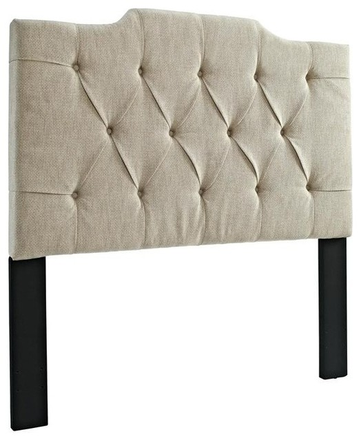 Tufted Upholstered Panel Headboard, Linen, King.