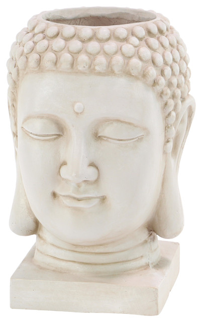 """Large White Buddha Statue Indoor & Outdoor Planter, 10""""x16"""""""