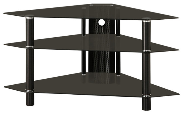 Bermuda Glass Corner Tv Stand With 3 Levels Holds Up To 48
