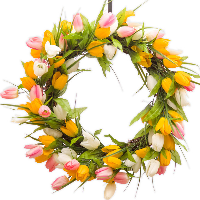 Darby Creek Floral Tulip Wreath Yellow Pink And White