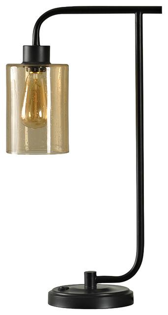 Restoration Table Lamp, Bronze Finish, Opulence Finish Glass Shade.