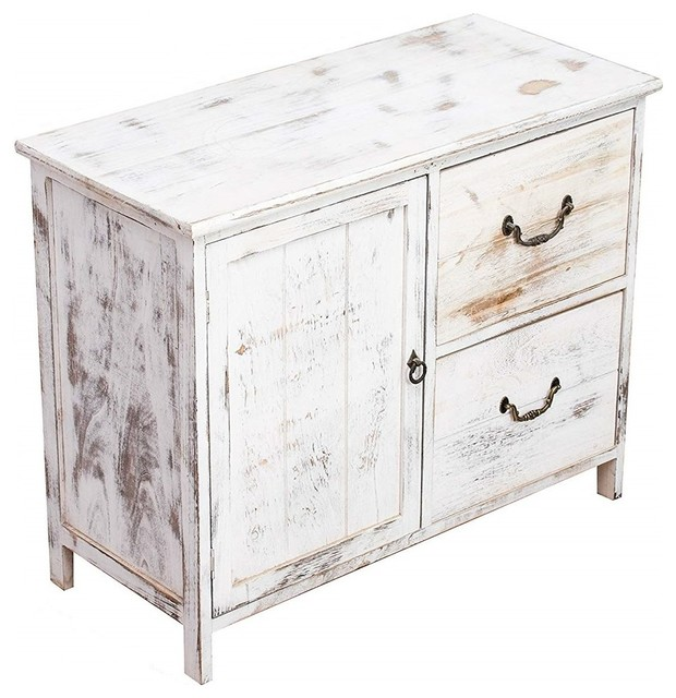 Rustic Sideboard, White Finished Natural Wood With 1-Door and 2-Drawer