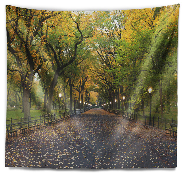 The Mall Area In Central Park Landscape Wall Tapestry Contemporary Tapestries By Design Art Usa