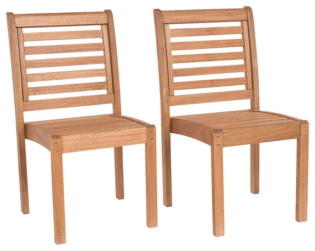 eucalyptus stackable patio chairs without arms set of 2 dining