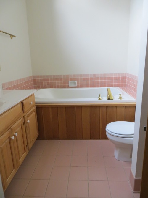 How Do I Minimize The Pink Of The Floor And Wall Tiles In This Bathroom?  Canu0027t Afford A Total Re Do.