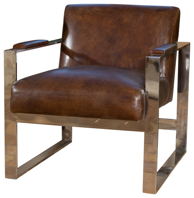 Cleveland Mid Century Modern Design Steel Frame Top Grain Leather Chair