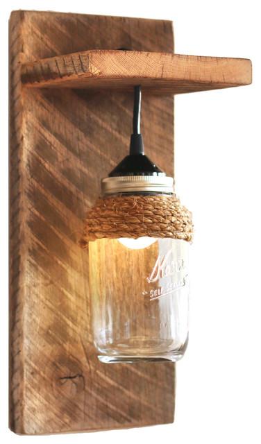 Barn Wood Mason Jar Light Fixture - Wall Sconce, With Rope ... on Wood Wall Sconces Decorative Lighting id=29159