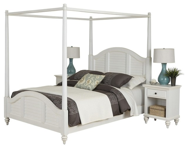 Bermuda Queen Canopy Bed And 2 Nightstands White Finish Transitional Bedr