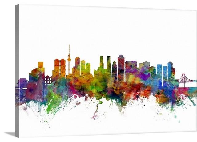 Tokyo Japan Skyline Wrapped Canvas Art Print