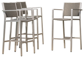 Capral Outdoor Wicker Bar Stools Set Of 4 Gray Contemporary And Counter By Gdfstudio