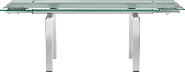 Casabianca Home Frosty Chrome/Clear Glass Extendable Dining Table