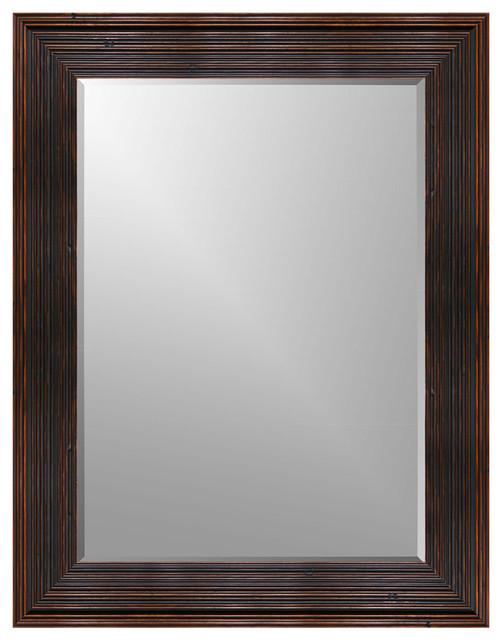 """Ribbed Barn Wood Wall Mirror, 16""""x20"""", Beveled."""