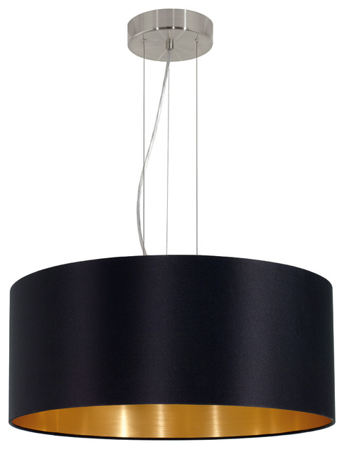3x60w Pendant With Satin Nickel Finish And Black And Gold Shade.