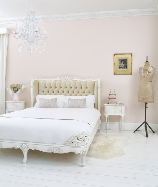 Nice Provencal Upholstered Velvet French Bed Shabby Chic Style Bedroom