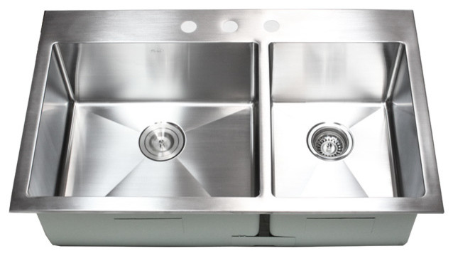 36 Inch Top-Mount / Drop-In Stainless Steel 60/40 Double Bowl Kitchen Sink