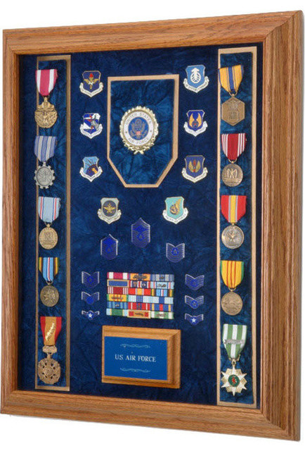 """All American Gifts - 16"""" X 20"""" Solid Oak Military Award and Display Case With Strips & Reviews ..."""