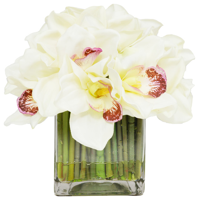 Cymbidium Orchids In Glass Vase Contemporary Artificial Flower