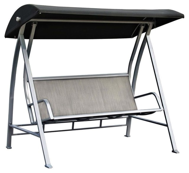 Astounding Durable Steel Frame 3 Seat Sling Canopy Swing In Grey For Outdoor Patio Porch Pabps2019 Chair Design Images Pabps2019Com