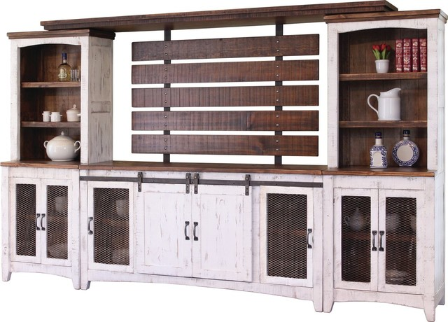 """Crafters And Weavers Greenview White 122"""" Tv Stand Wall Unit."""