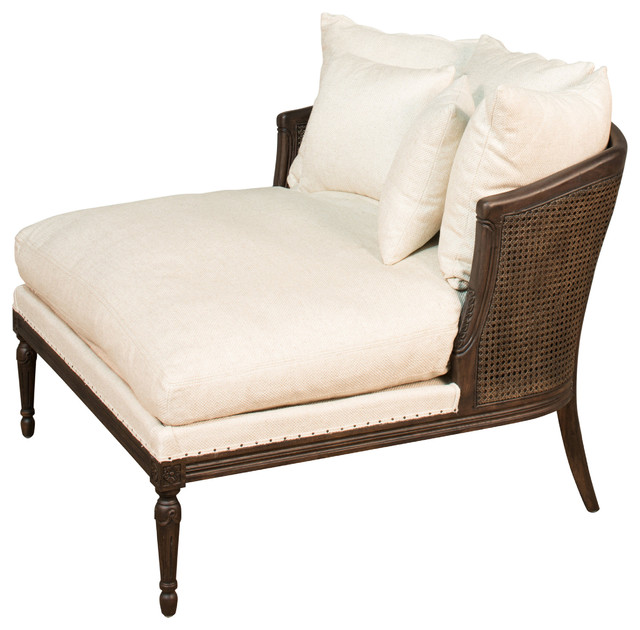 Calais French Country Dark Oak Cane Back Natural Chaise by SAR