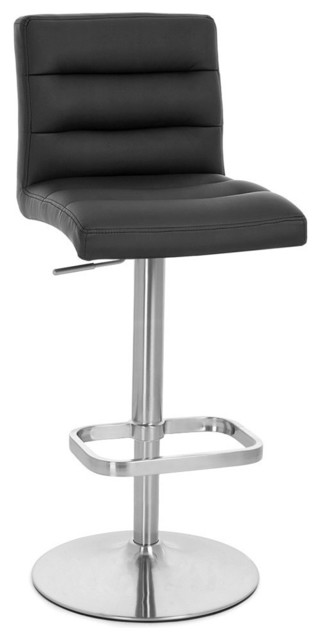 Lush Adjustable Height Swivel Armless Bar Stool, Black