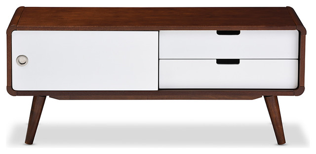 Armani Sliding Door Wood Tv Cabinet White And Brown
