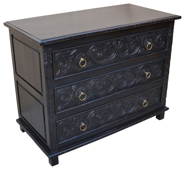 "Valeria 3-Drawer Chest, 48x20x36""."