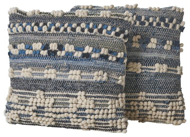 GDF Studio Clara Blue White Wool and Denim Pillow, Set of 2