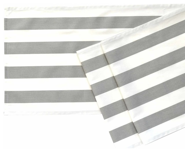 Gray And White Striped Table Runner 108 Contemporary Rh Houzz Com Chevron Grey