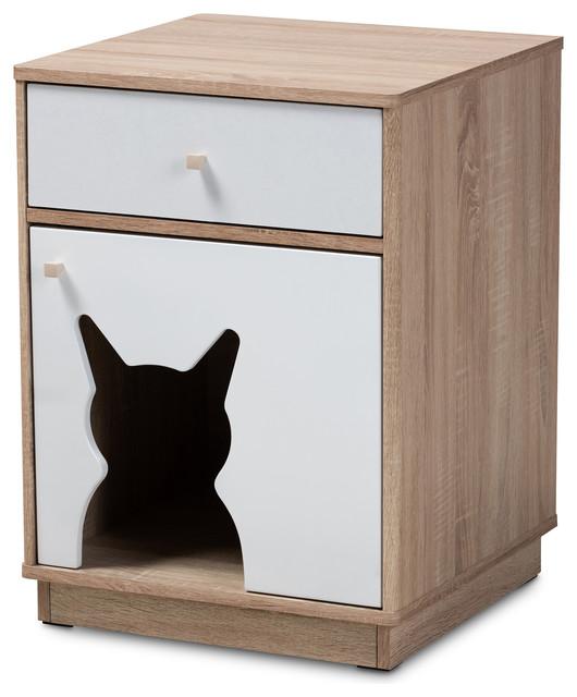 White 1 Door Wood Cat Litter Box