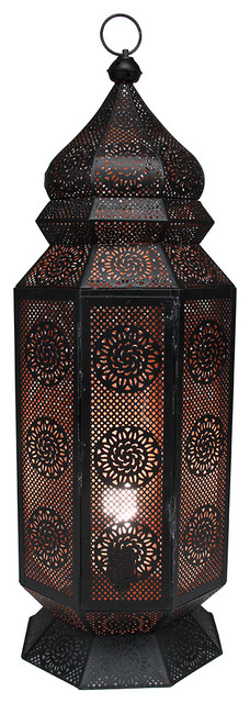 30 5 Black And Gold Moroccan Style Cut Out Floor Lantern Lamp
