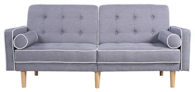 Mid Century Modern Two Tone Splitback Tufted Linen Futon, Light Grey.