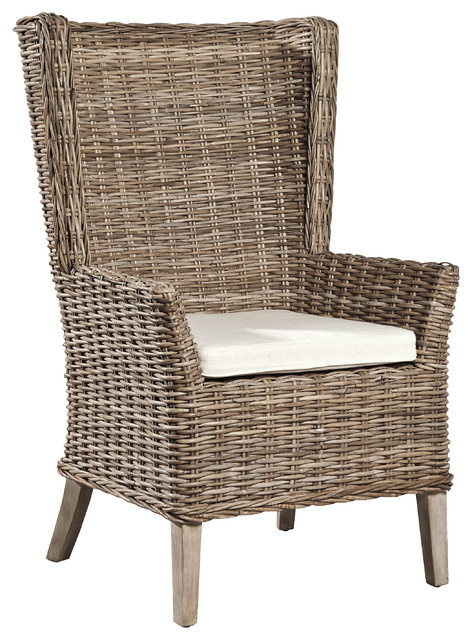 Coquina Handwoven Rattan Host Chair Set Of 2 Tropical