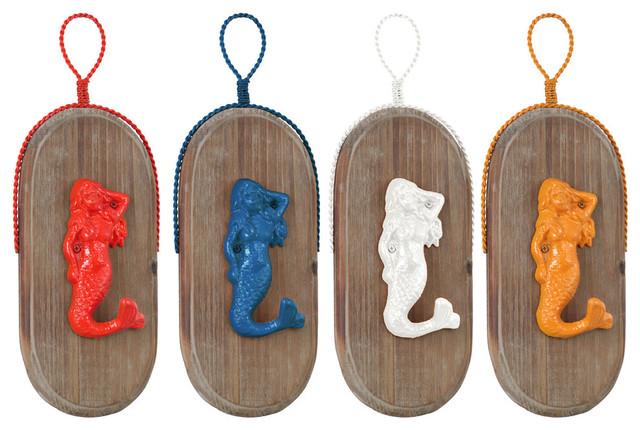 Metal Mermaid Wall Hooks, Hanger On Oval Wood Board Coated Finish, 4-Piece Set.