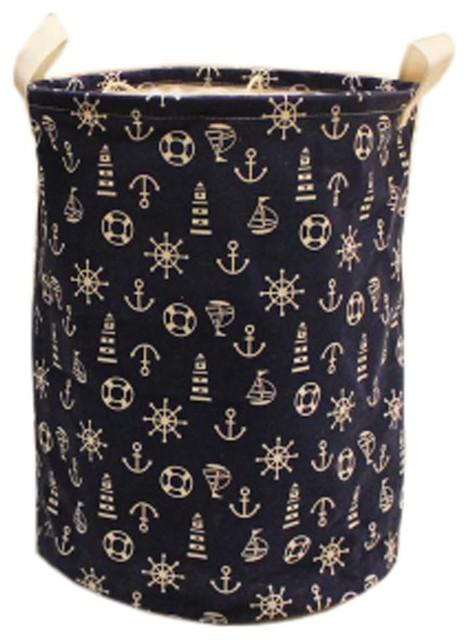 The Navy Style Foldable Large Laundry Basket Hamper Storage Blue Anchor